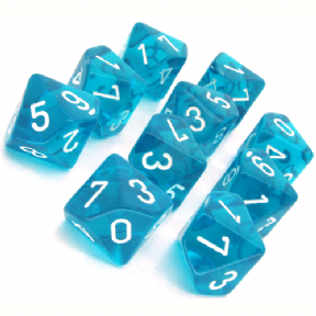 Teal & White Translucent D10 Ten Sided Dice Set